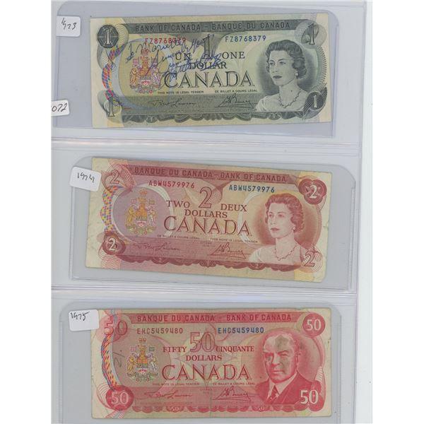 1973 1 Dollar & 1974 2 Dollar & 1975 50 Dollar Canadian Bills