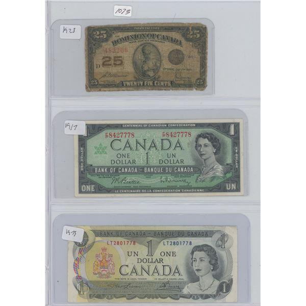 1923 25 Cent & 1917 One Dollar & 1973 One Dollar Canadian Bills