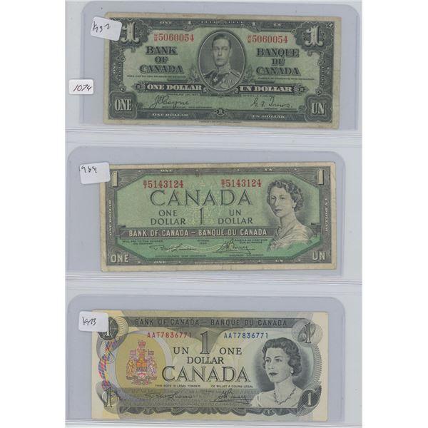 1932 One Dollar & 1954 One Dollar & 1973 One Dollar Canadian Bills