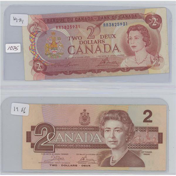 1974 2 Dollar & 1986 2 Dollar Canadian Bills