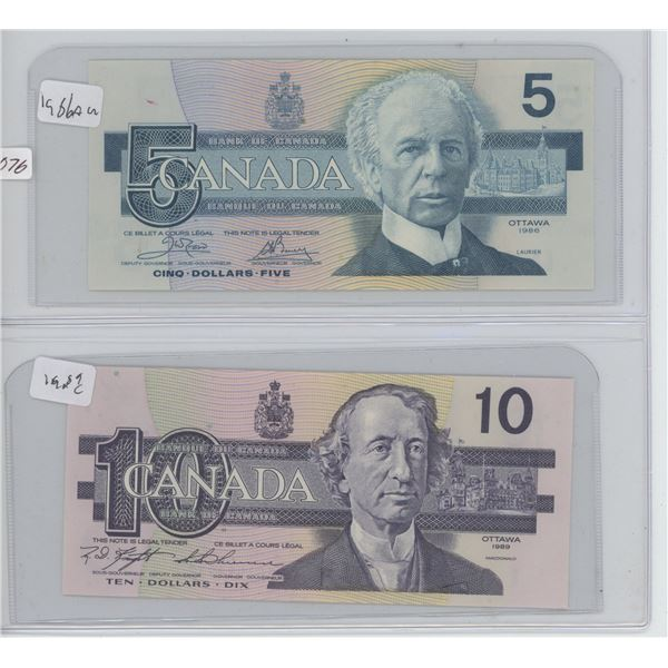 1985 5 Dollar & 1989 10 Dollar Canadian Bills