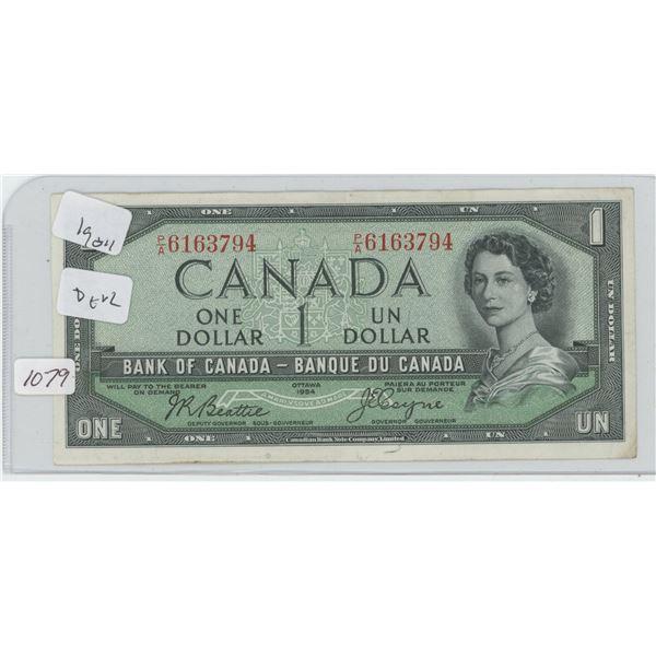 1954 Canadian 1 Dollar Bill Devil Face