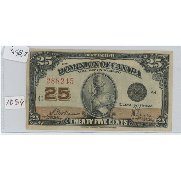 1923 Canadian 25 Cent Bill