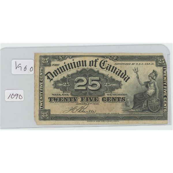 1900 Canadian 25 Cent Bill