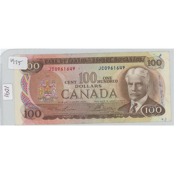 1975 Canadian 100 Dollar Bill