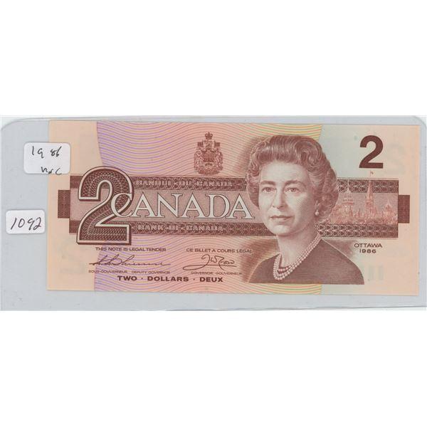 1986 Canadian 2 Dollar Bill
