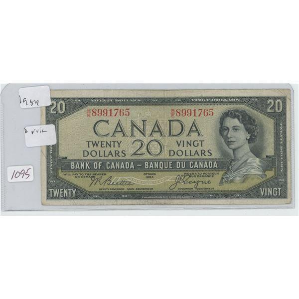 1954 Canadian 20 Dollar Bill