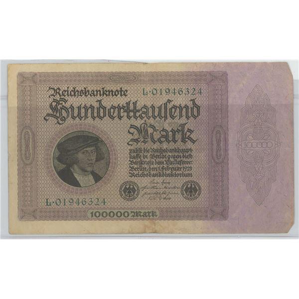 1923 100,000 ReichMark Note