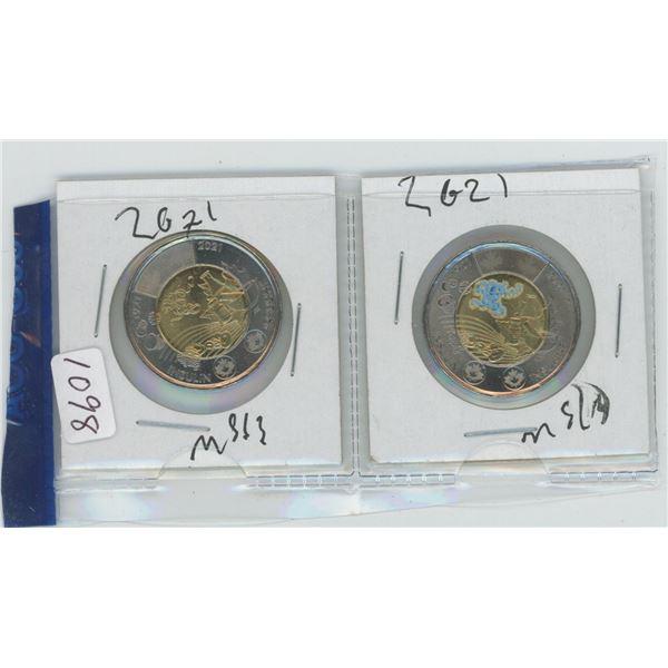 2 X 2021 Canadian 2 Dollar Coins
