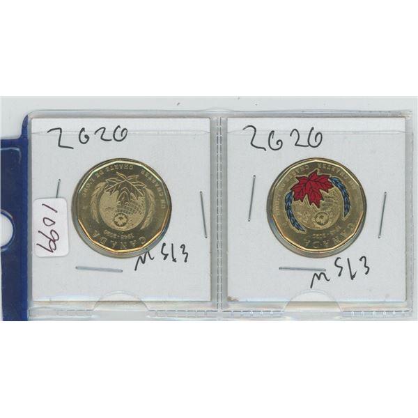 2 X 2020 Canadian 1 Dollar Coins