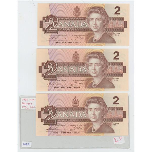 3 Consecutive 1986 Canadian $2 Bills Uncirculated