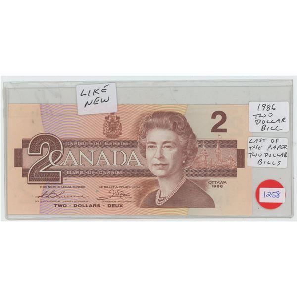 1986 Canadian $2 Bill