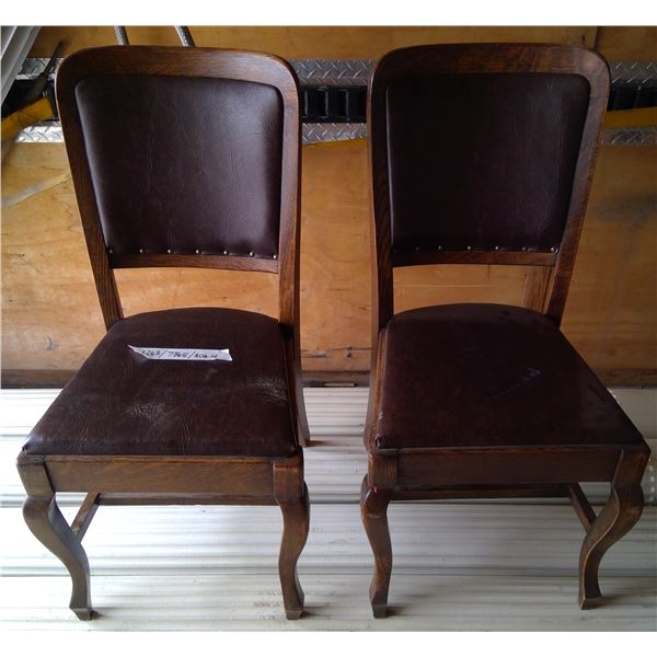 2 - Oak Uphoulstered Chairs
