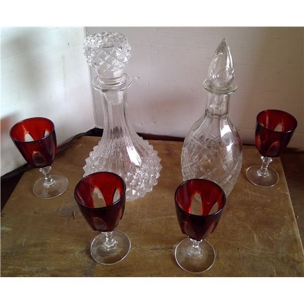 2 - Decanters with Toppers & 4 - Ruby Red Glasses