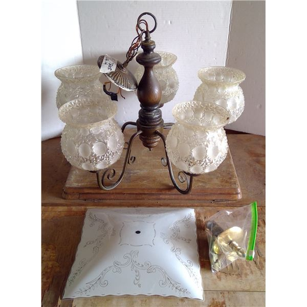 Vintage Light Fixture with 5 Glass Globes & Ceiling Fixture