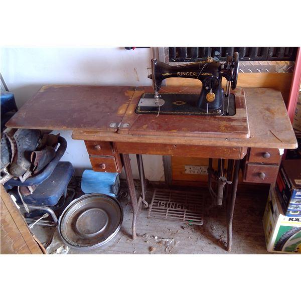 "Treadle Singer Sewing Machine 34""l x 16""d x 31""h"
