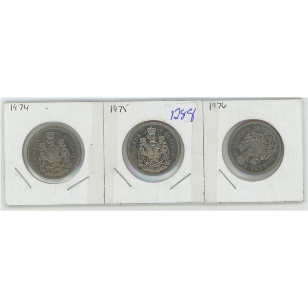 1974,75,76 Canadian 50 Cent Coins