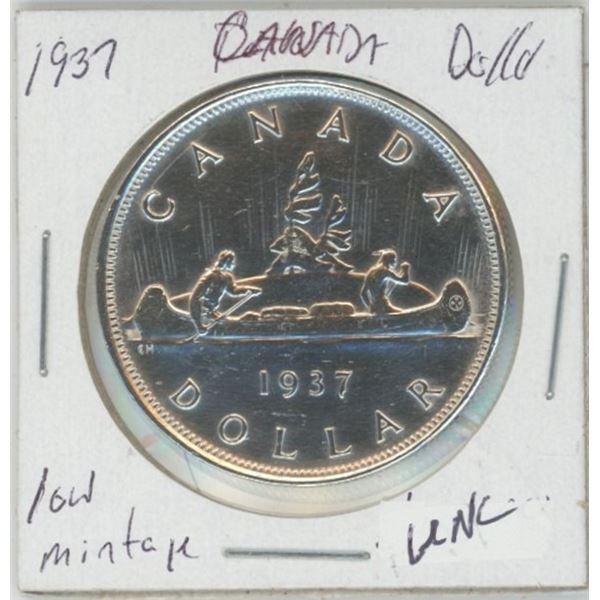 1937 Silver Dollar, Low Mintage 80% Silver, UNC
