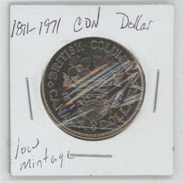 1871 - 1971 B.C. Centennial Cdn. Dollar