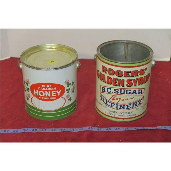 2 Vintage Honey/Sugar Tins