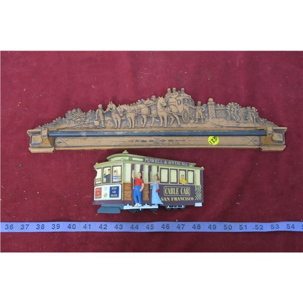 Resin Stage Coach Towel Rack + Cable Car Ornament