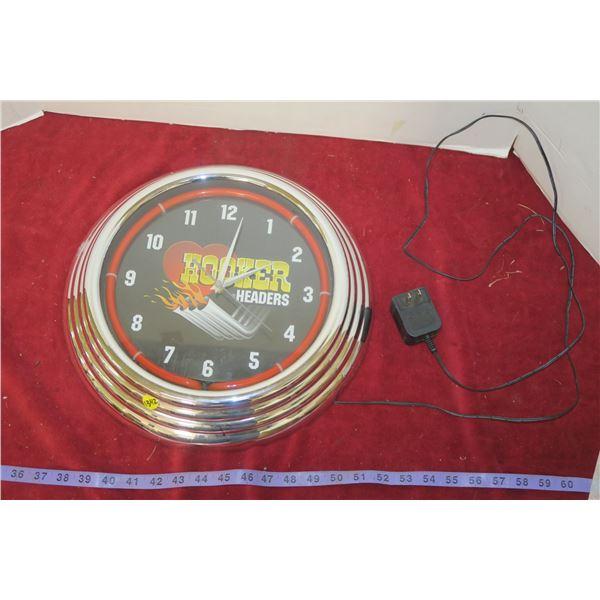 "Neon Hooker Headers Wall Clock 15"" Diameter"