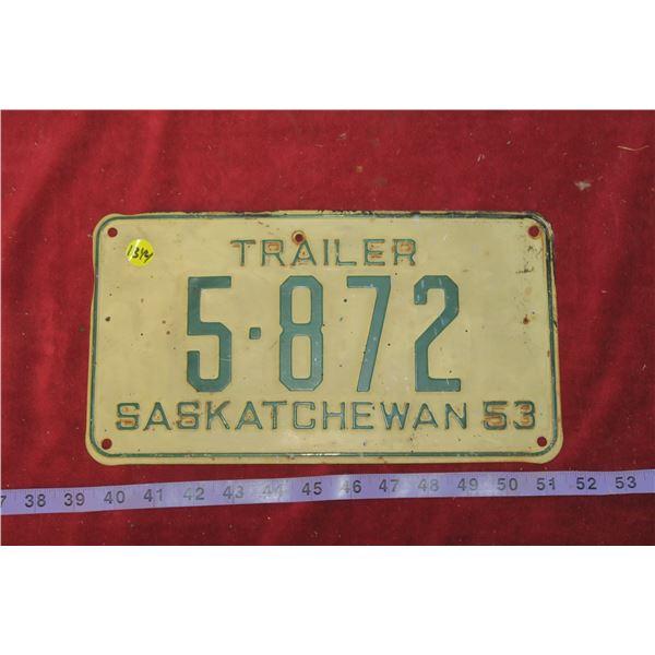 1953 Sask Trailer Plate