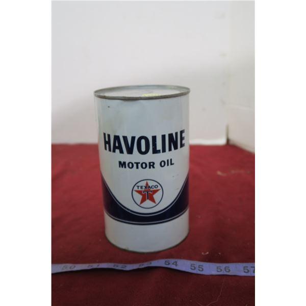 Full Texaco Halvoline Quart Oil Can