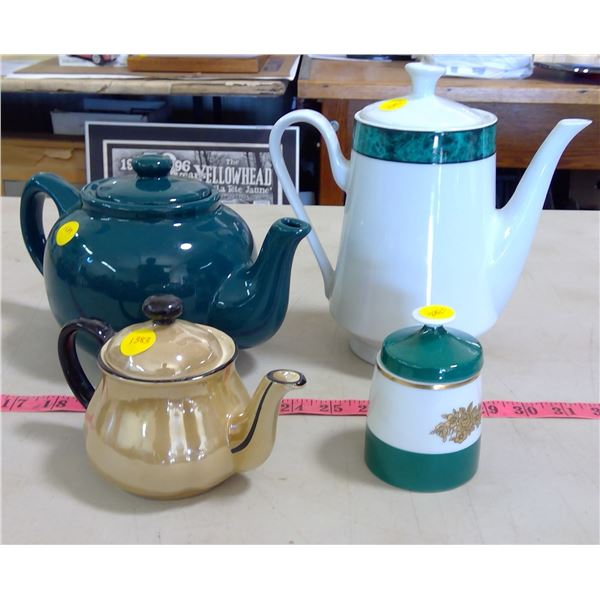 3 Teapots & Sugar Dish