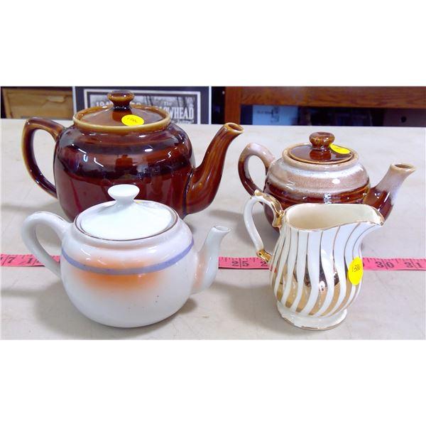 3 Teapots & Creamer