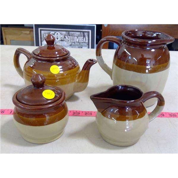 Matching Set of Teapot, Pitcher, Cream & Sugar