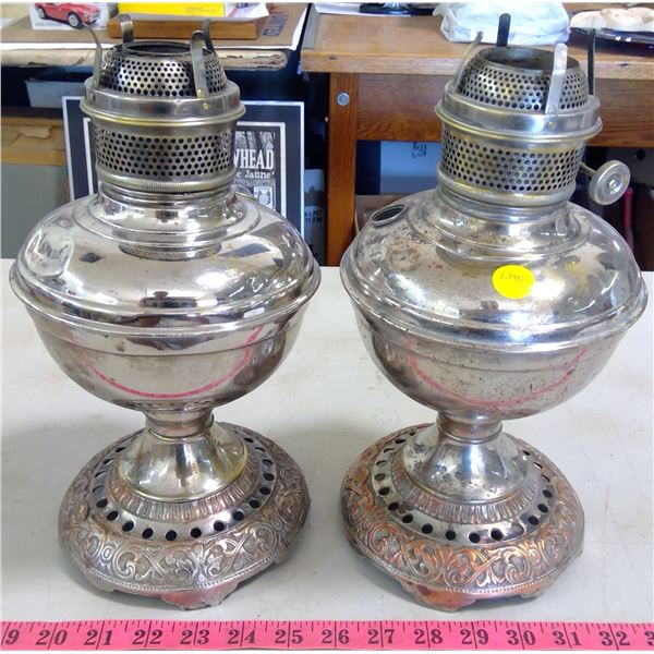 2 Silver-Plated Lamp Bases