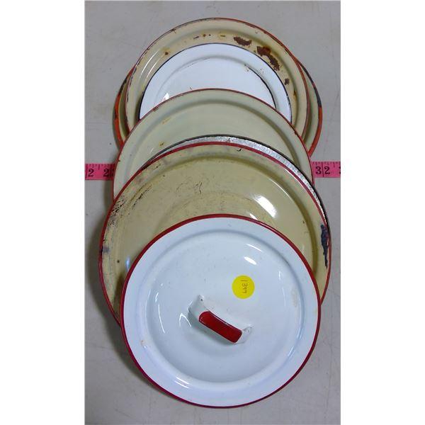 Enamelware - 7 Pots & Pans Lids