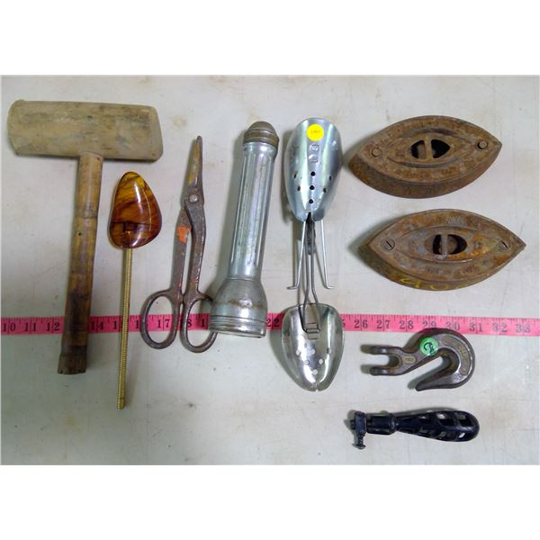 Misc Tools & 2 Sad Irons