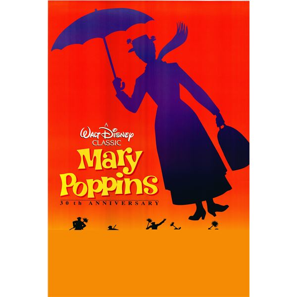 Mary Poppins 30th Anniversary 1994 original one sheet movie poster