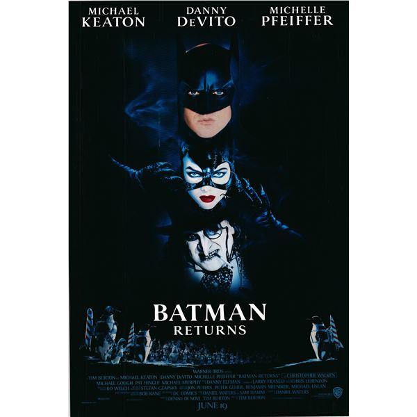 Batman Returns 1992 original vintage advance sheet movie poster