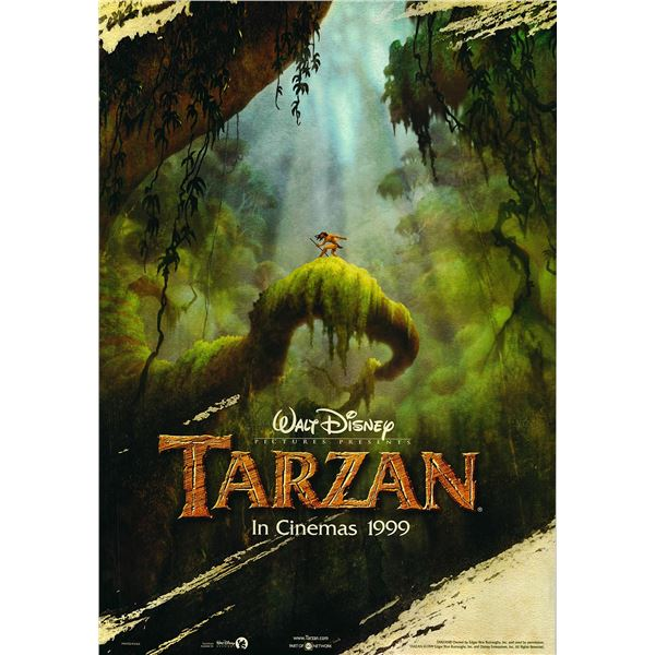 Tarzan original 1999 vintage advance one sheet movie poster