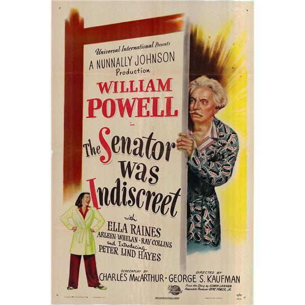The Senator Was Indiscreet original 1947 vintage one sheet movie poster