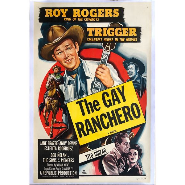 Gay Ranchero 1948 original vintage linen backed one sheet movie poster