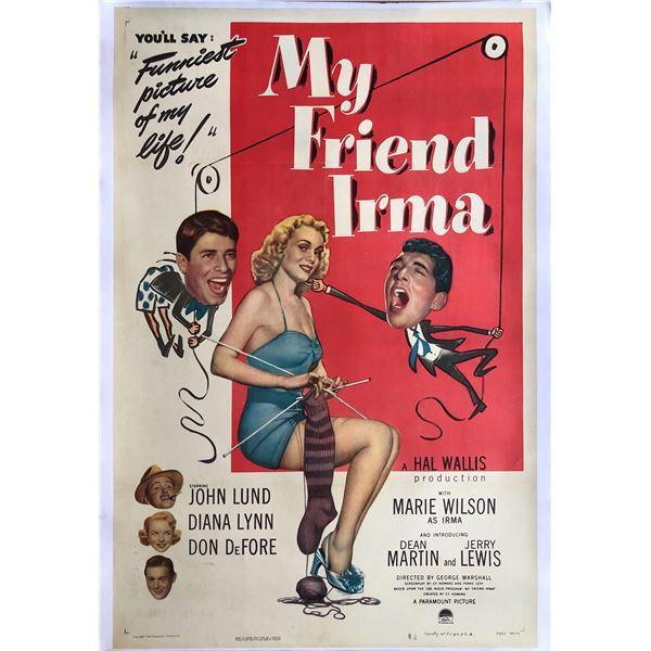 My Friend Irma 1949 original vintage linen backed one sheet movie poster