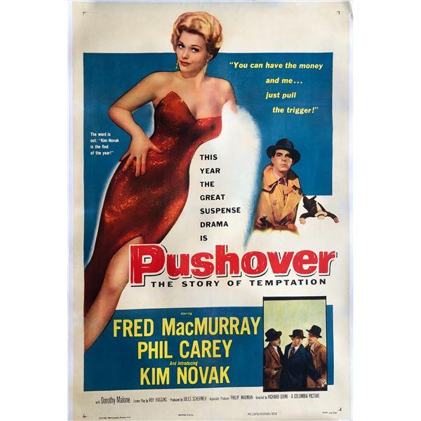 Pushover 1954 original vintage line backed one sheet movie poster