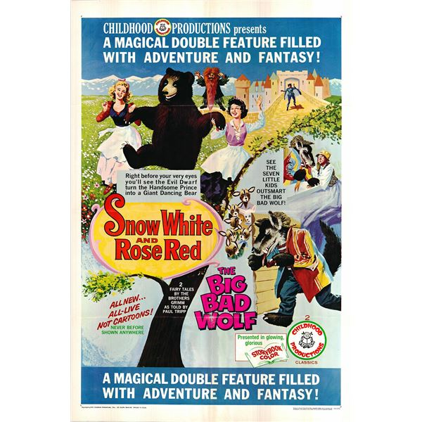 Snow White and Rose Red / The Big Bad Wolf original 1996 vintage one sheet movie poster