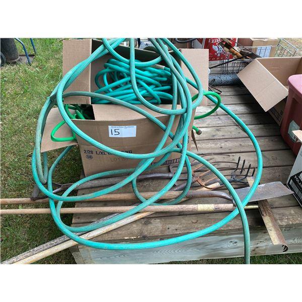 (4) Garden Hoses & 5 Garden Tools
