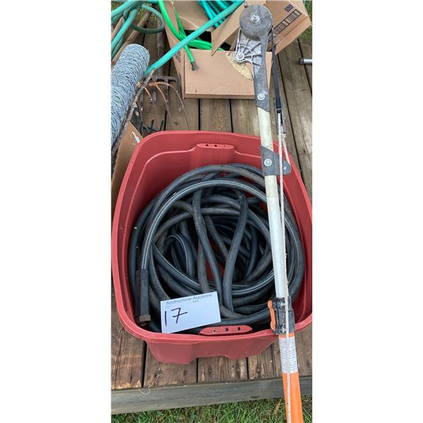 Approx. 130' Water Hose, Container & Tree Pruner