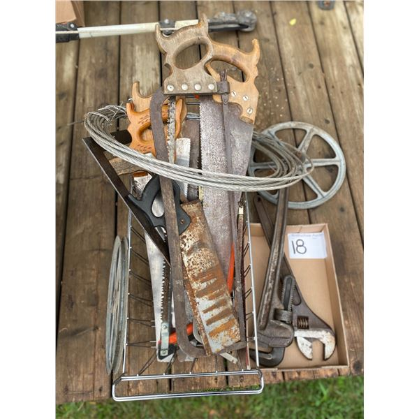 Various Saws, Clothes Line, Pipe & Cresent Wrench, Etc.