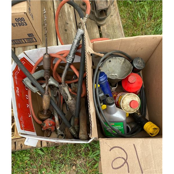 (2) Boxes of Tools, Nuts & Bolts, Cords, Etc.