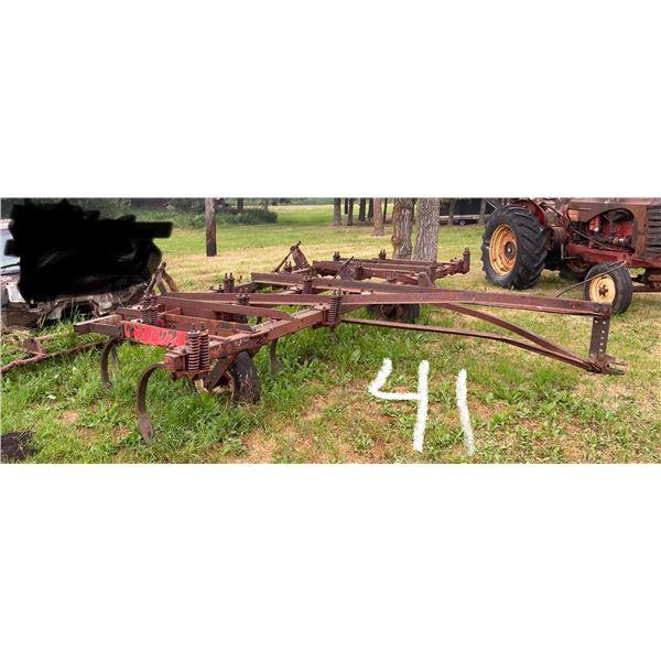 14' Cockshutt 246 C. Plow w/3 Bar Noble T. Harrows, Needs tires