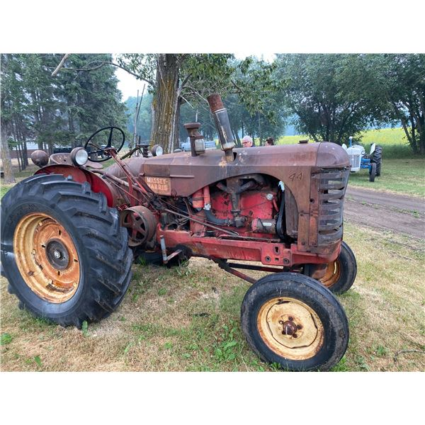 M.H. 44 Gas Tractor for parts, Good Tin, P.T.O. & Pulley