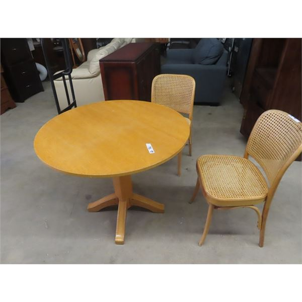 """Wooden Single Dropleaf Table w 2 Chairs 36"""" RD"""