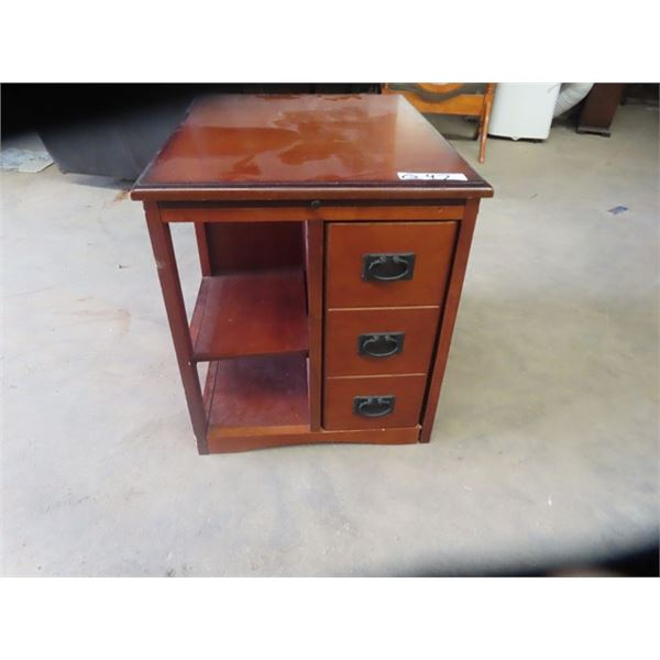 """End Table w 3 Drawers & Pullout- 22""""H 22""""W 10""""D Pullout is 18""""W"""